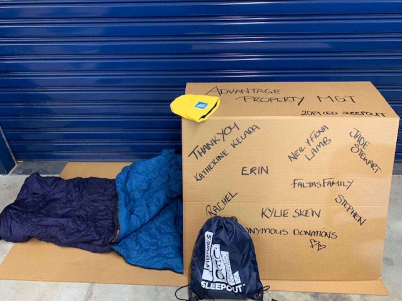 CEO Sleepout Cardboard Box shelter